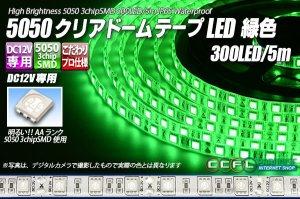 画像1: 5050テープLED 60LED/m クリアドーム 緑色 5m