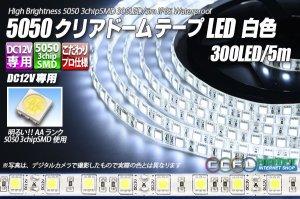 画像1: 5050テープLED 60LED/m クリアドーム 白色 5m